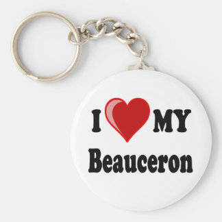 I Love My Beauceron Dog Keychain