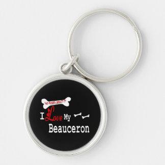 I Love My Beauceron Keychain