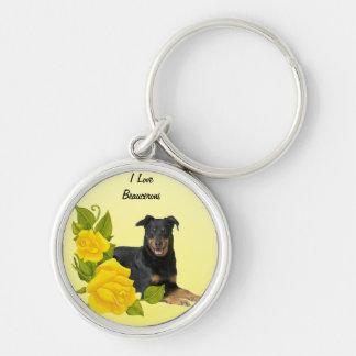 I Love My Beauceron & Yellow Roses Keychain