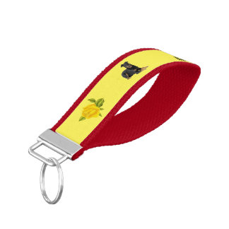 I Love My Beauceron & Yellow Roses Wrist Keychain