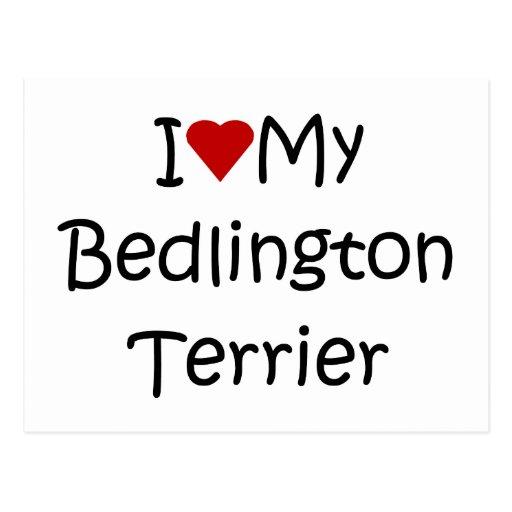 I Love My Bedlington Terrier Dog Lover Gifts Postcard