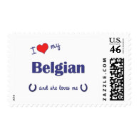 I Love My Belgian (Female Horse) Stamps