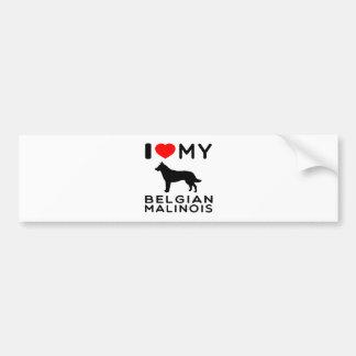 I Love My Belgian Malinois. Car Bumper Sticker