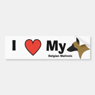 I Love My Belgian Malinois Car Bumper Sticker