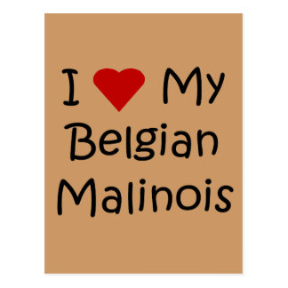 I Love My Belgian Malinois Dog Lover Gifts Postcard