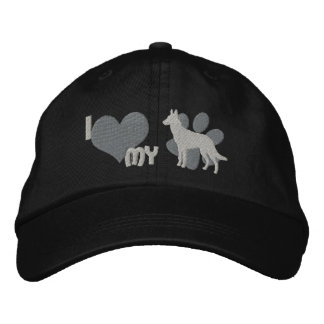 I Love my Belgian Malinois Embroidered Hat (Gray)