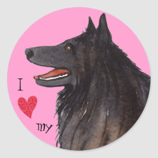 I Love my Belgian Sheepdog Classic Round Sticker