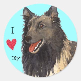 I Love my Belgian Tervuren Classic Round Sticker