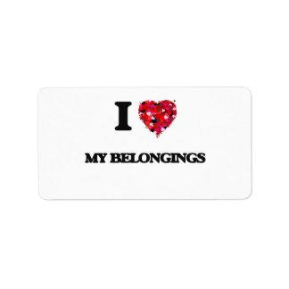 I Love My Belongings Address Label