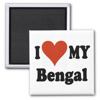 I Love My Bengal Cat Gifts and Apparel 2 Inch Square Magnet