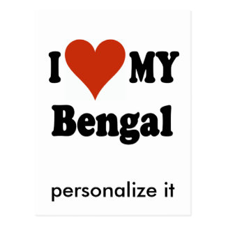 I Love My Bengal Cat Gifts and Apparel Postcard