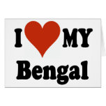 I Love My Bengal Cat Merchandise Greeting Cards