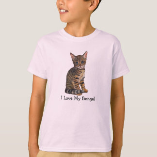 I Love My Bengal, Kitten, Cat in Color Pencil T-Shirt