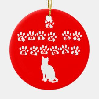 I Love My Bengal White Christmas Tree Ornament