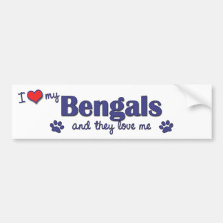 I Love My Bengals (Multiple Cats) Bumper Sticker