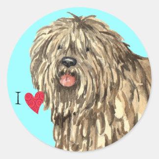 I Love my Bergamasco Classic Round Sticker