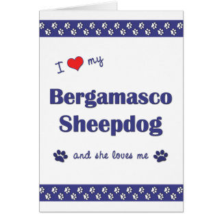 I Love My Bergamasco Sheepdog (Female Dog) Cards
