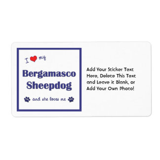 I Love My Bergamasco Sheepdog (Female Dog) Custom Shipping Labels