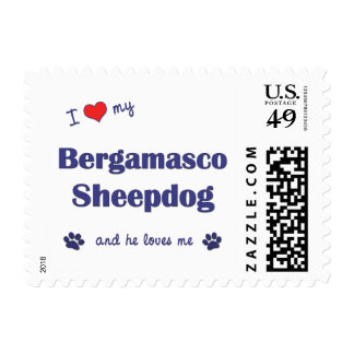 I Love My Bergamasco Sheepdog (Male Dog) Stamps