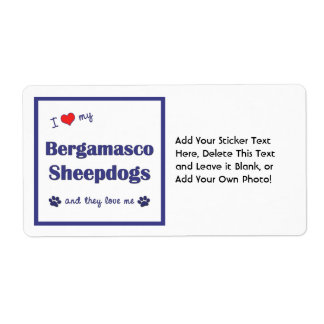 I Love My Bergamasco Sheepdogs (Multiple Dogs) Custom Shipping Labels