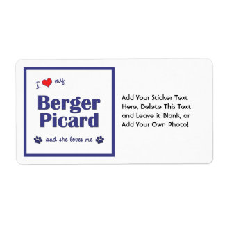 I Love My Berger Picard (Female Dog) Label