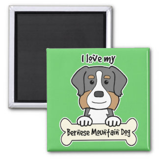 I Love My Bernese Mountain Dog 2 Inch Square Magnet