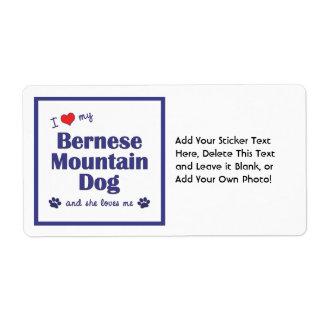 I Love My Bernese Mountain Dog (Female Dog) Label