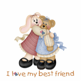 I Love My Best Friend Bunny and Teddy Sculpture