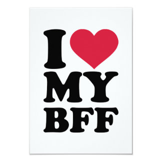 I love my best friend forever BFF 3.5x5 Paper Invitation Card