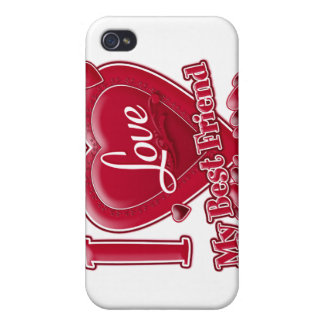I Love My Best Friend red - heart iPhone 4 Covers