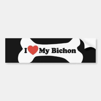 I Love My Bichon - Dog Bone Bumper Sticker