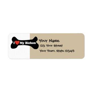 I Love My Bichon - Dog Bone Custom Return Address Label