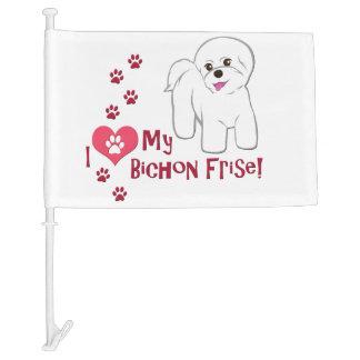 I Love My Bichon Frise! Car Flag