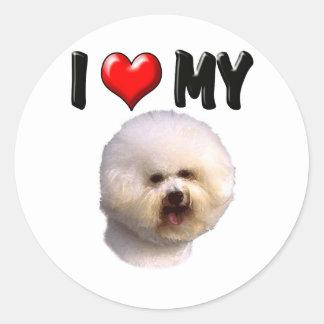 I Love My Bichon Frise Classic Round Sticker