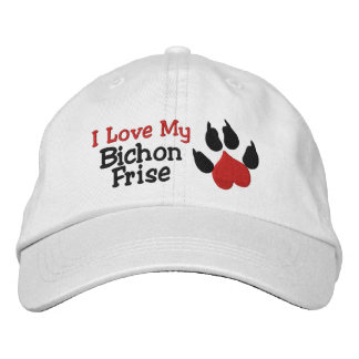 I Love My Bichon Frise Dog Paw Print Embroidered Hat