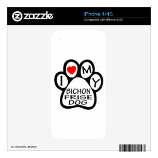 I Love My Bichon Frise Dog Decals For iPhone 4