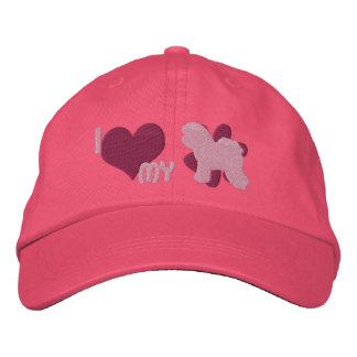 I Love my Bichon Frise Embroidered Hat (Pink)