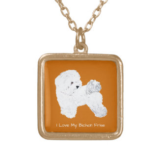 I Love My Bichon Frise Gold Plated Necklace