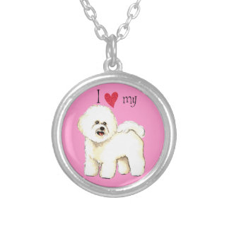 I Love my Bichon Frise Silver Plated Necklace