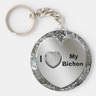 I Love My Bichon Heart Keychain
