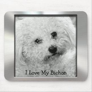 I Love My Bichon Metal Photo Frame Mousepad