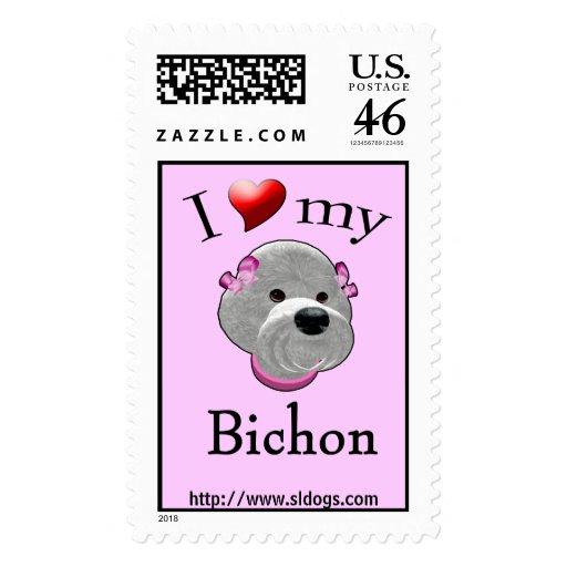 I Love My Bichon Postage Stamp