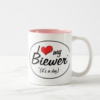 I Love My Biewer (It's a Dog) Two-Tone Coffee Mug