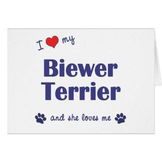 I Love My Biewer Terrier (Female Dog) Card