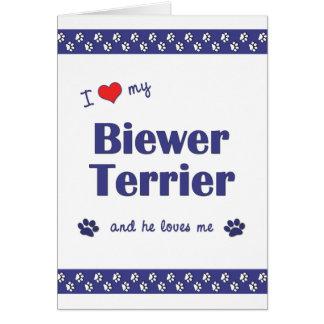 I Love My Biewer Terrier (Male Dog) Card