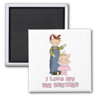 I Love My Big Brother Boy and Little Girl 2 Inch Square Magnet