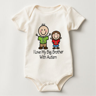 I Love My Big Brother With Autism Sister Baby Bodysuit