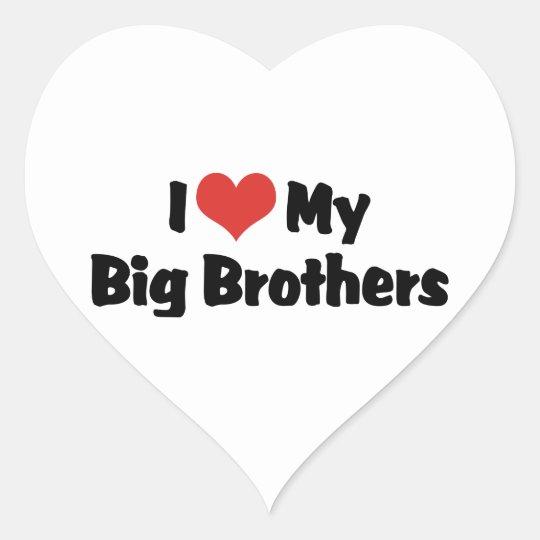 I Love My Big Brothers Heart Sticker