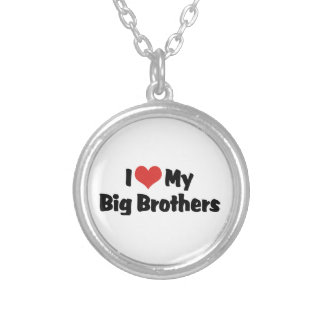 I Love My Big Brothers Round Pendant Necklace