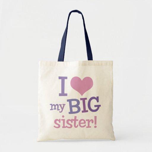 I Love My Big Sister Tote Bags